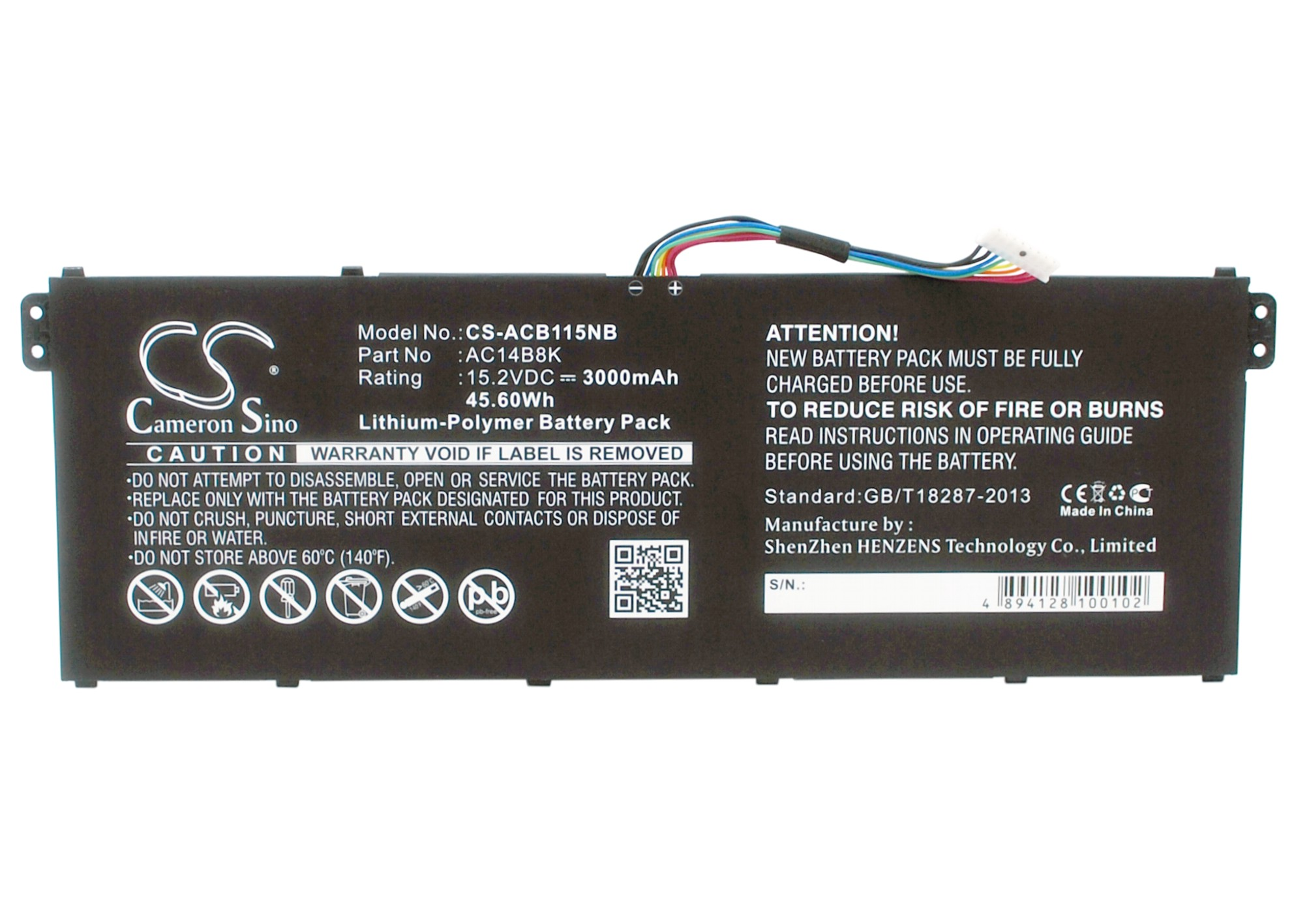 Cameron Sino baterie do notebooků pro ACER Aspire V3-371-55GS 15.2V Li-Polymer 3000mAh černá - neoriginální