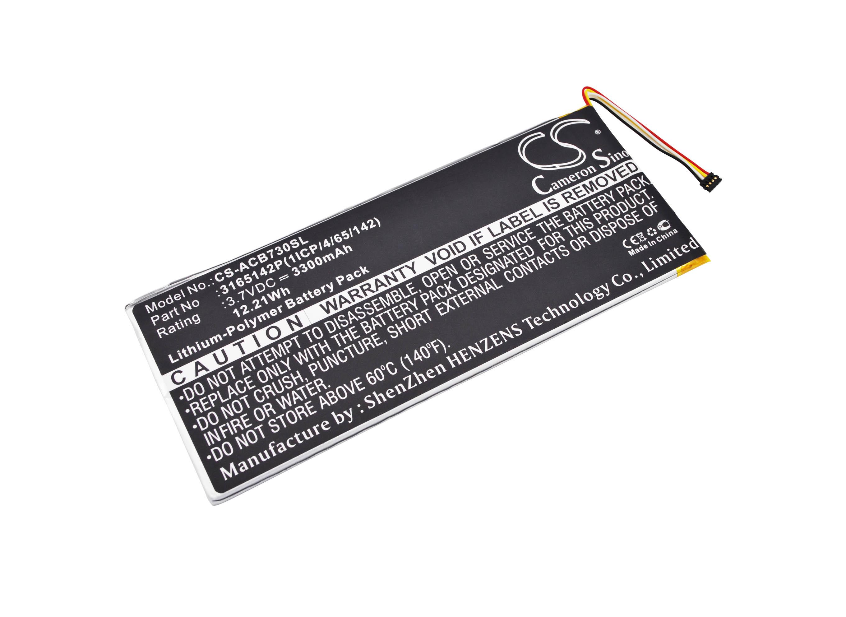 Cameron Sino baterie do tabletů pro ACER Iconia One 7 B1-730 3.7V Li-Polymer 3300mAh černá - neoriginální