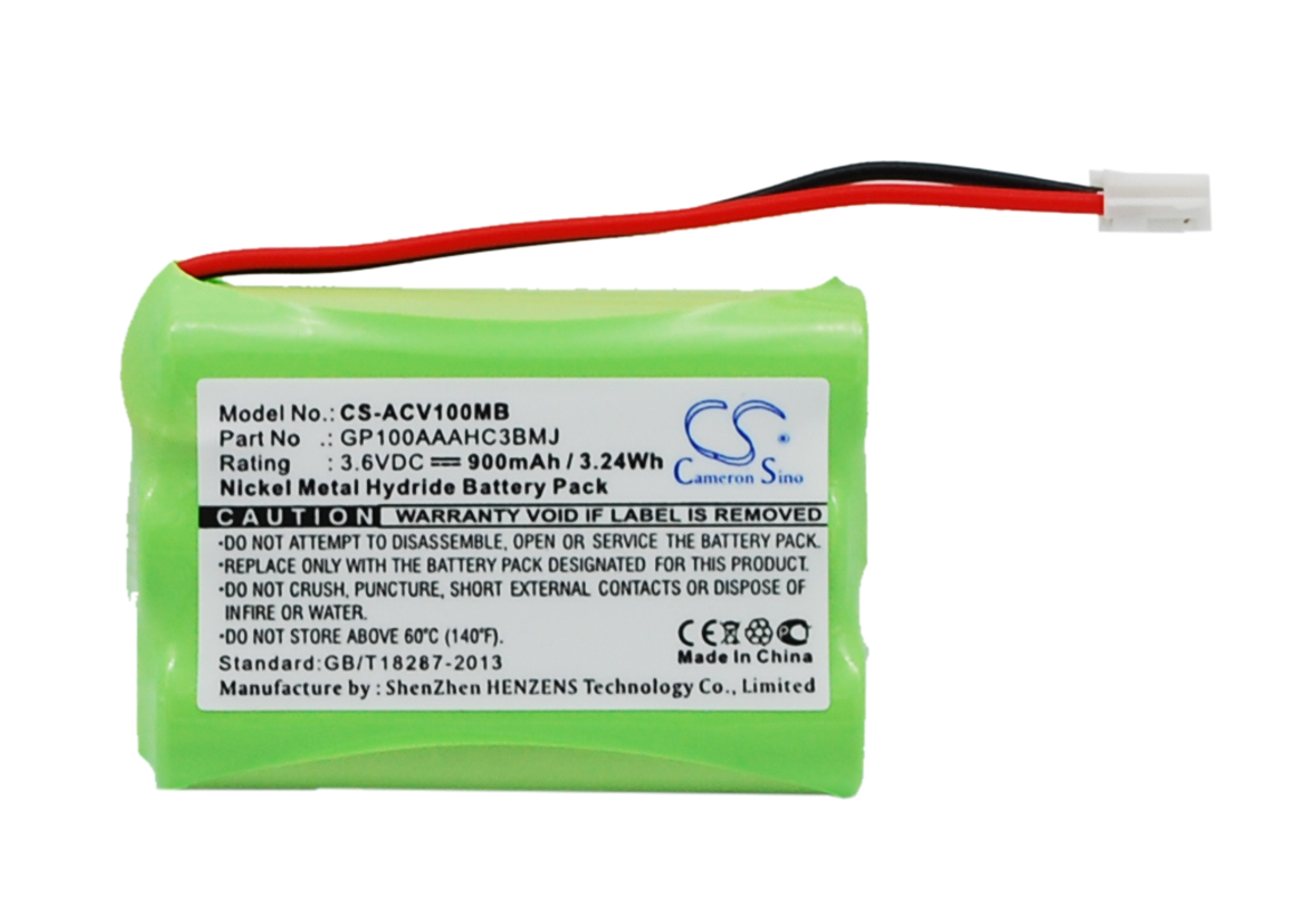 Cameron Sino baterie do dětských chůviček pro AUDIOLINE Baby Care V100 3.6V Ni-MH 900mAh černá - neoriginální