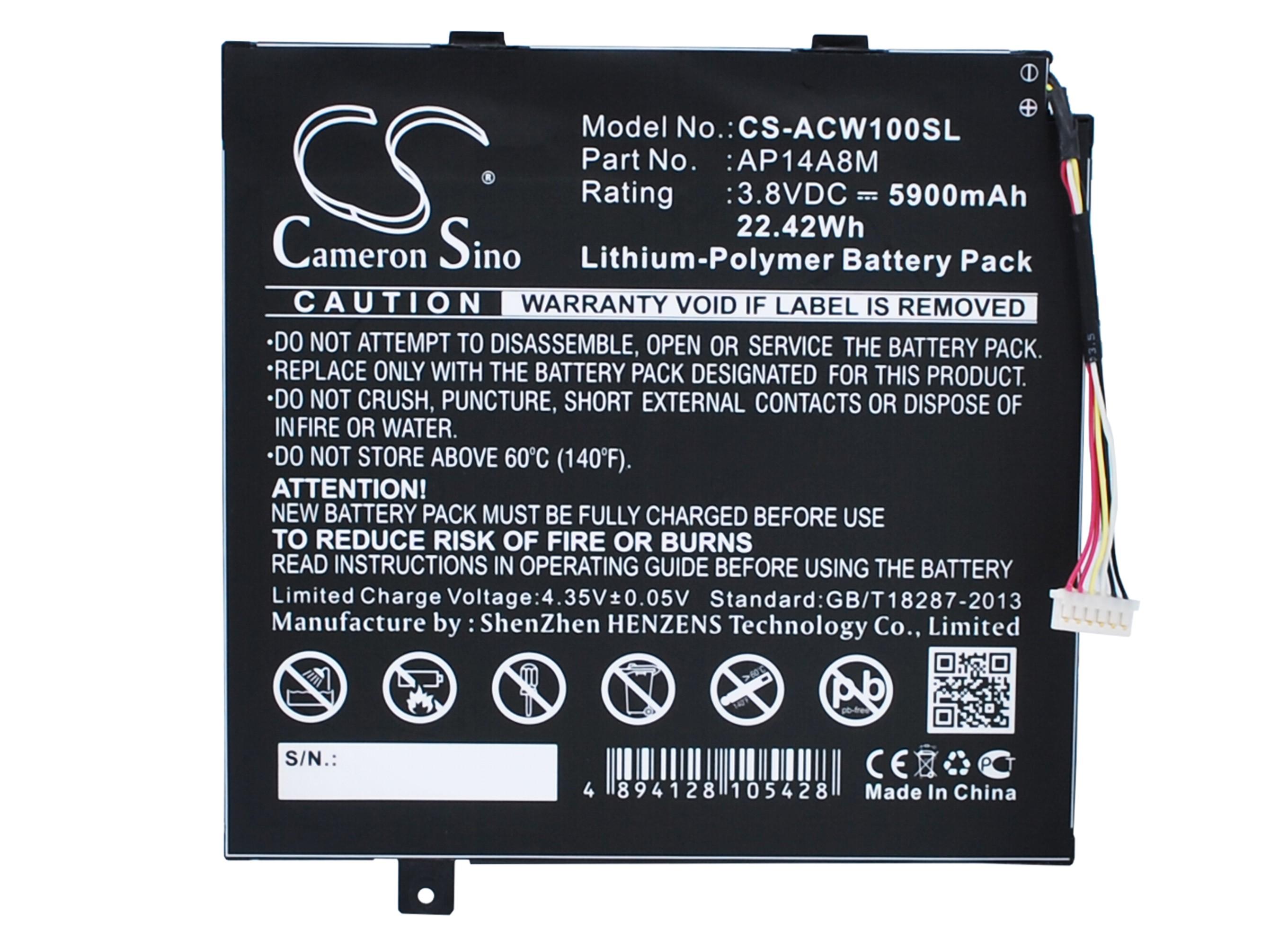 Cameron Sino baterie do tabletů pro ACER SW5-012 3.8V Li-Polymer 5900mAh černá - neoriginální