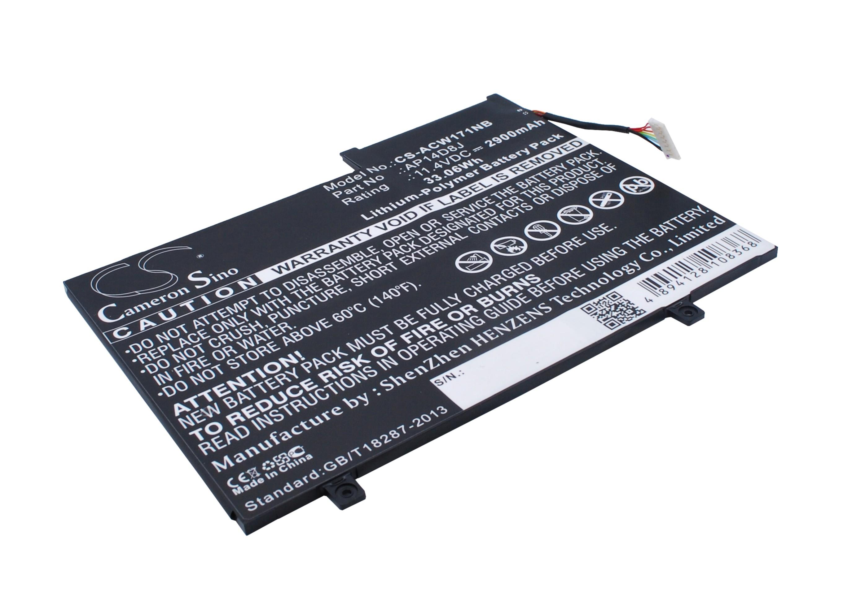 Cameron Sino baterie do notebooků pro ACER Aspire Switch 11 SW5-171P 11.4V Li-Polymer 2900mAh černá - neoriginální