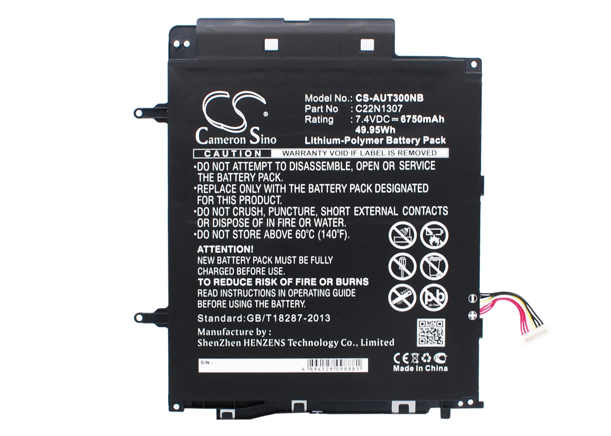 Cameron Sino baterie do notebooků pro ASUS Transformer Book T300 7.4V Li-Polymer 6750mAh černá - neoriginální