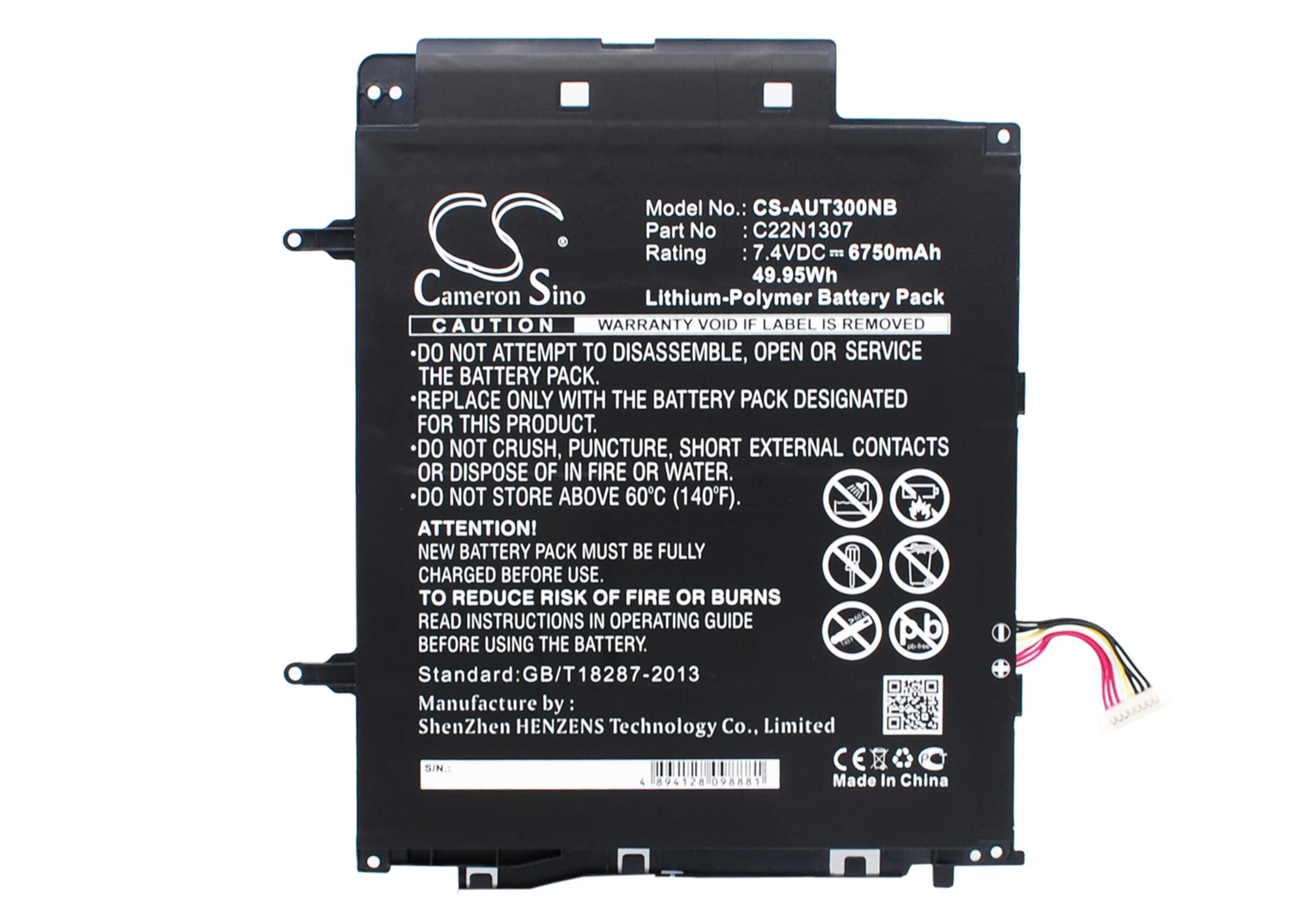 Cameron Sino baterie do notebooků pro ASUS Transformer Book T300LA 7.4V Li-Polymer 6750mAh černá - neoriginální