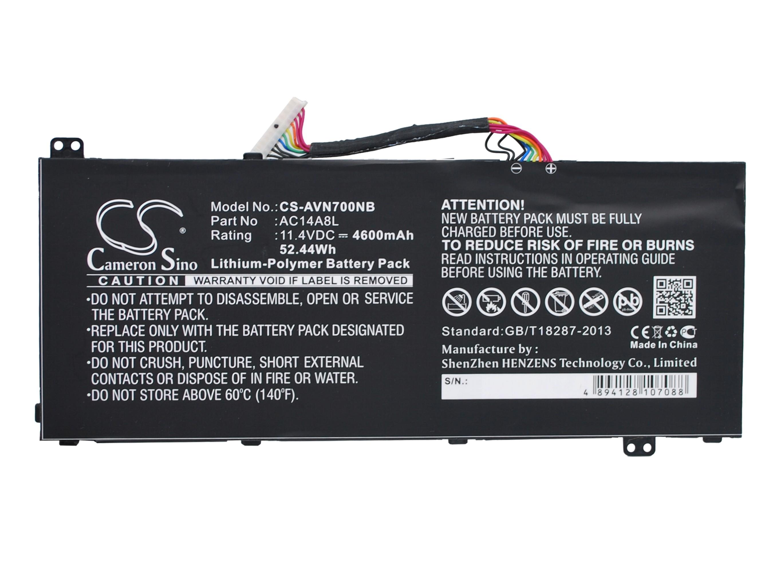 Cameron Sino baterie do notebooků pro ACER Aspire VN7-571 11.4V Li-Polymer 4600mAh černá - neoriginální