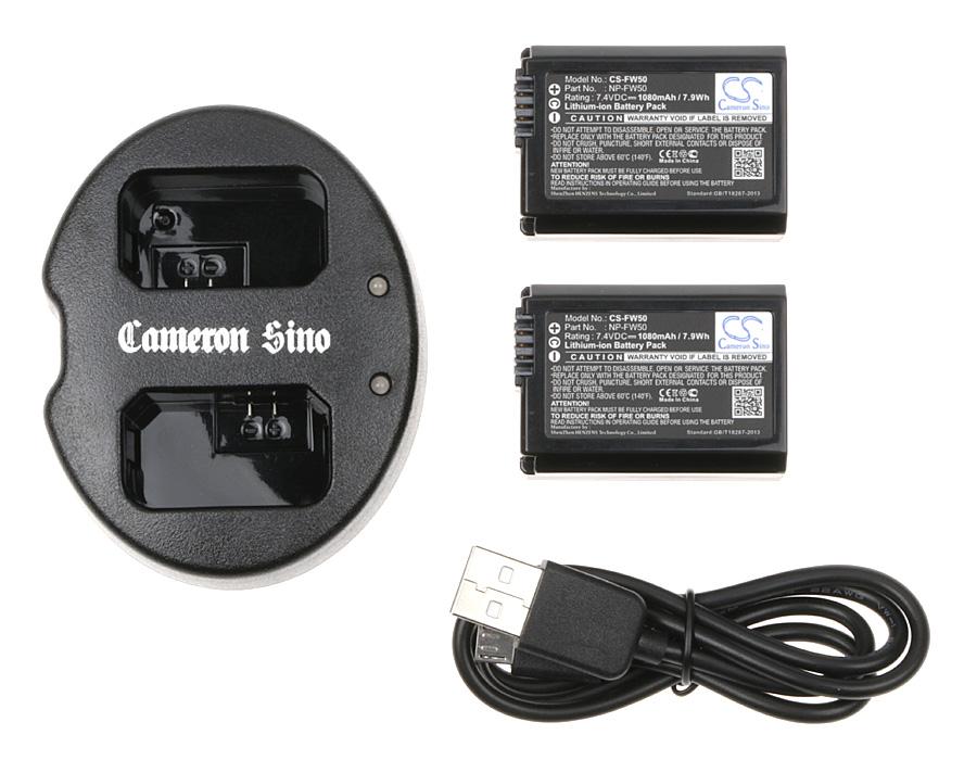 Cameron Sino kombo pack pro SONY Mirrorless Alpha A6000 7.4V Li-ion 1080mAh černá - neoriginální