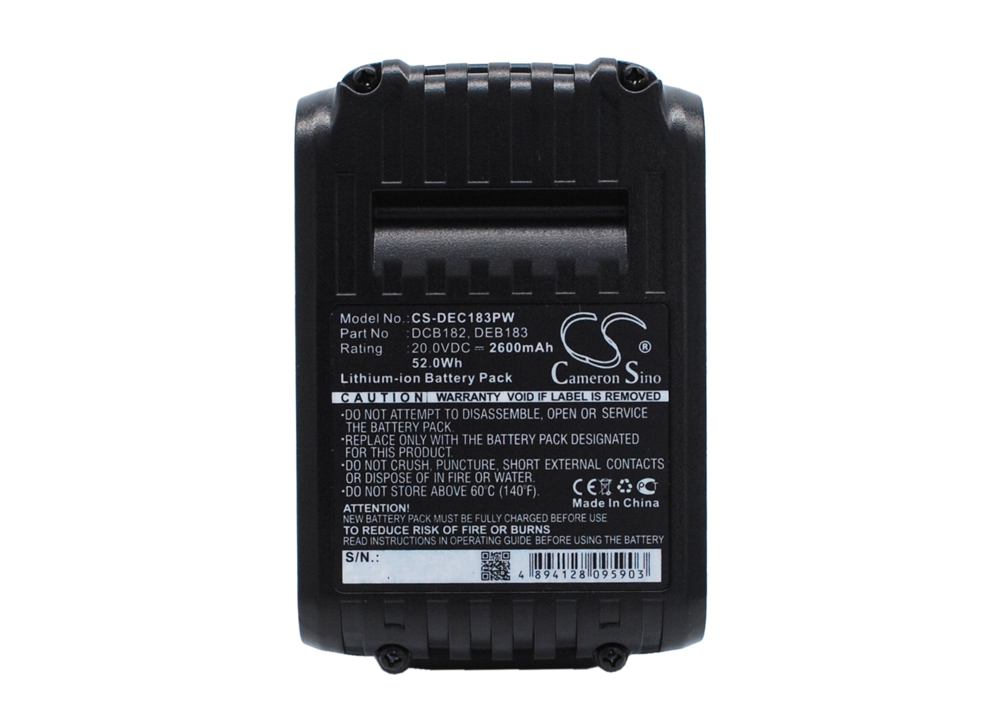 Cameron Sino baterie do nářadí pro DEWALT DCD985B 20V Li-ion 2600mAh černá - neoriginální