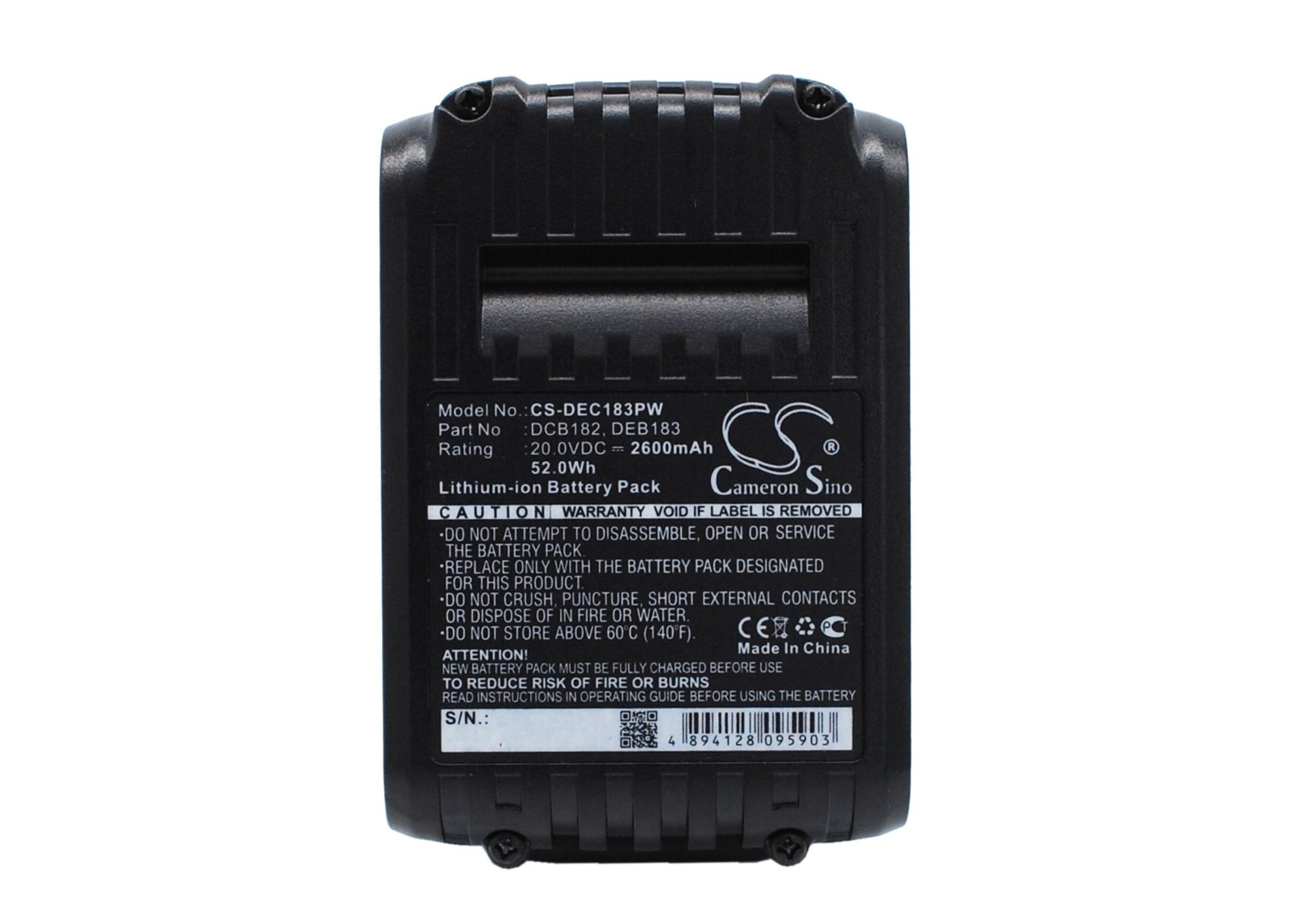Cameron Sino baterie do nářadí pro DEWALT DCG412L2 20V Li-ion 2600mAh černá - neoriginální