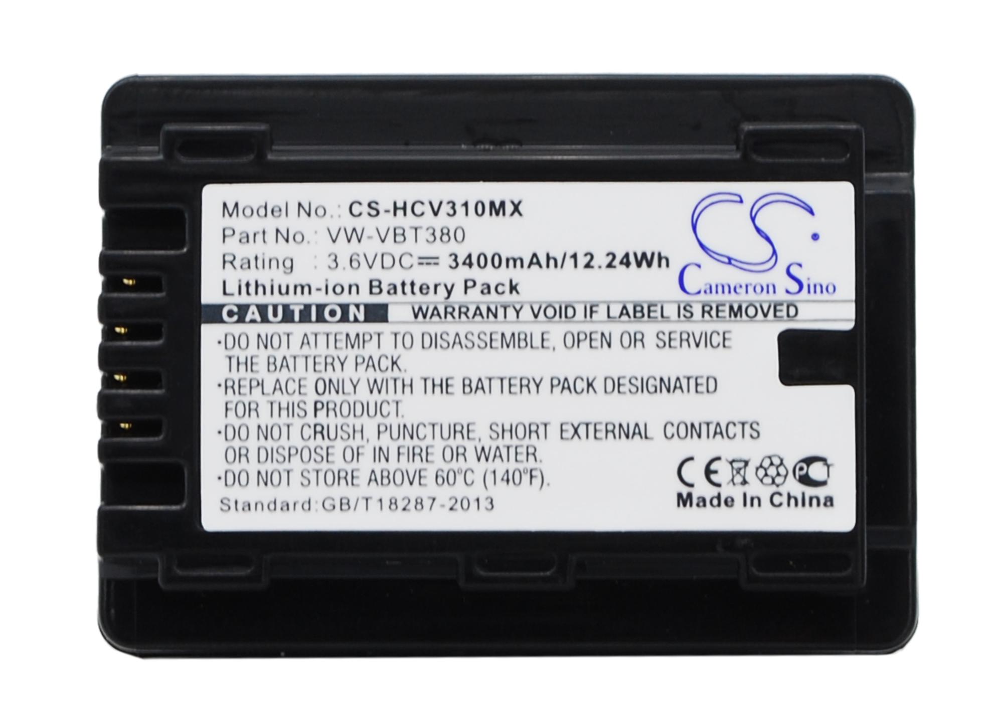 Cameron Sino baterie do kamer a fotoaparátů pro PANASONIC HC-VX870 3.6V Li-ion 3400mAh černá - neoriginální