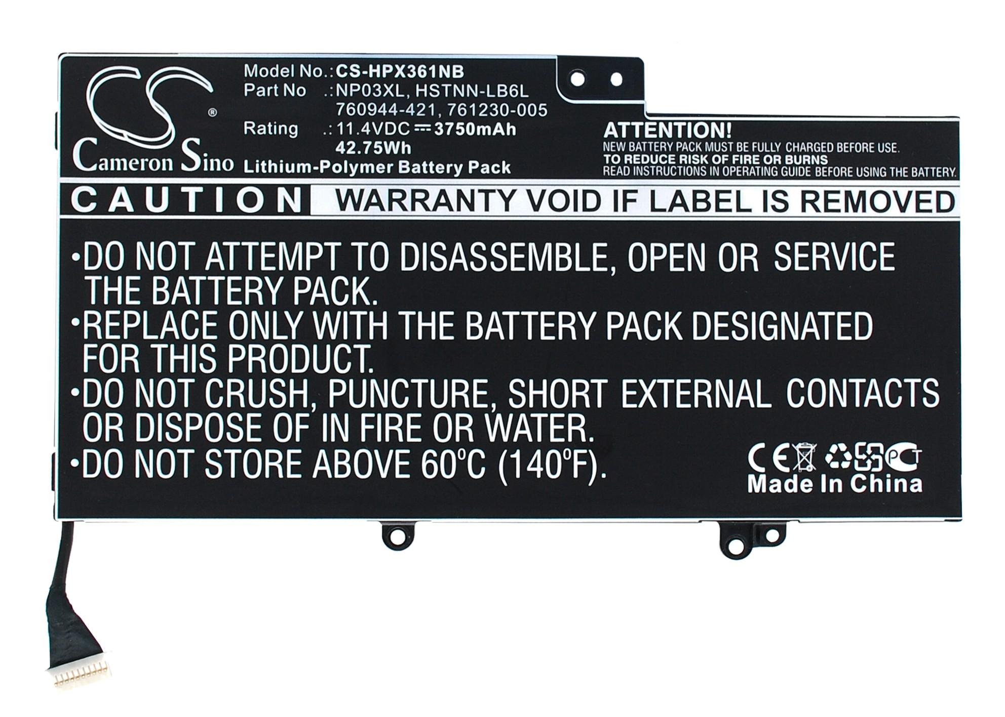 Cameron Sino baterie do notebooků pro HP Pavilion X360 11.4V Li-Polymer 3750mAh černá - neoriginální