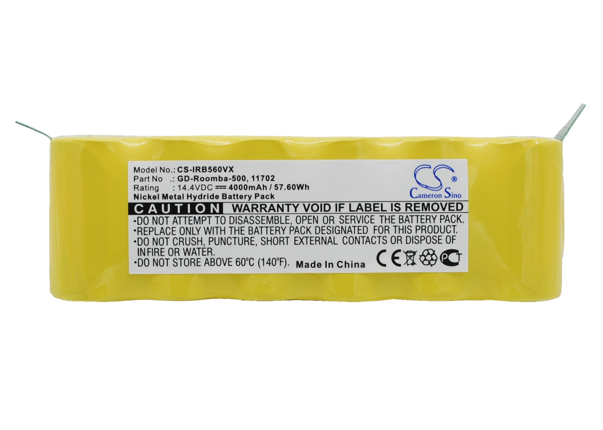 Cameron Sino baterie do vysavačů pro IROBOT Roomba 500 14.4V Ni-MH 4000mAh žlutá - neoriginální