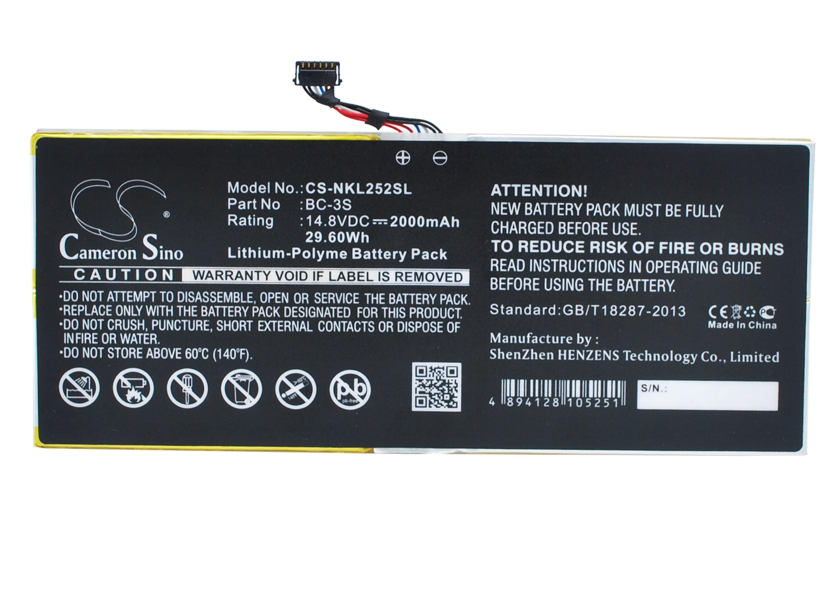 Cameron Sino baterie do tabletů pro NOKIA Lumia 2520 14.8V Li-Polymer 2000mAh černá - neoriginální