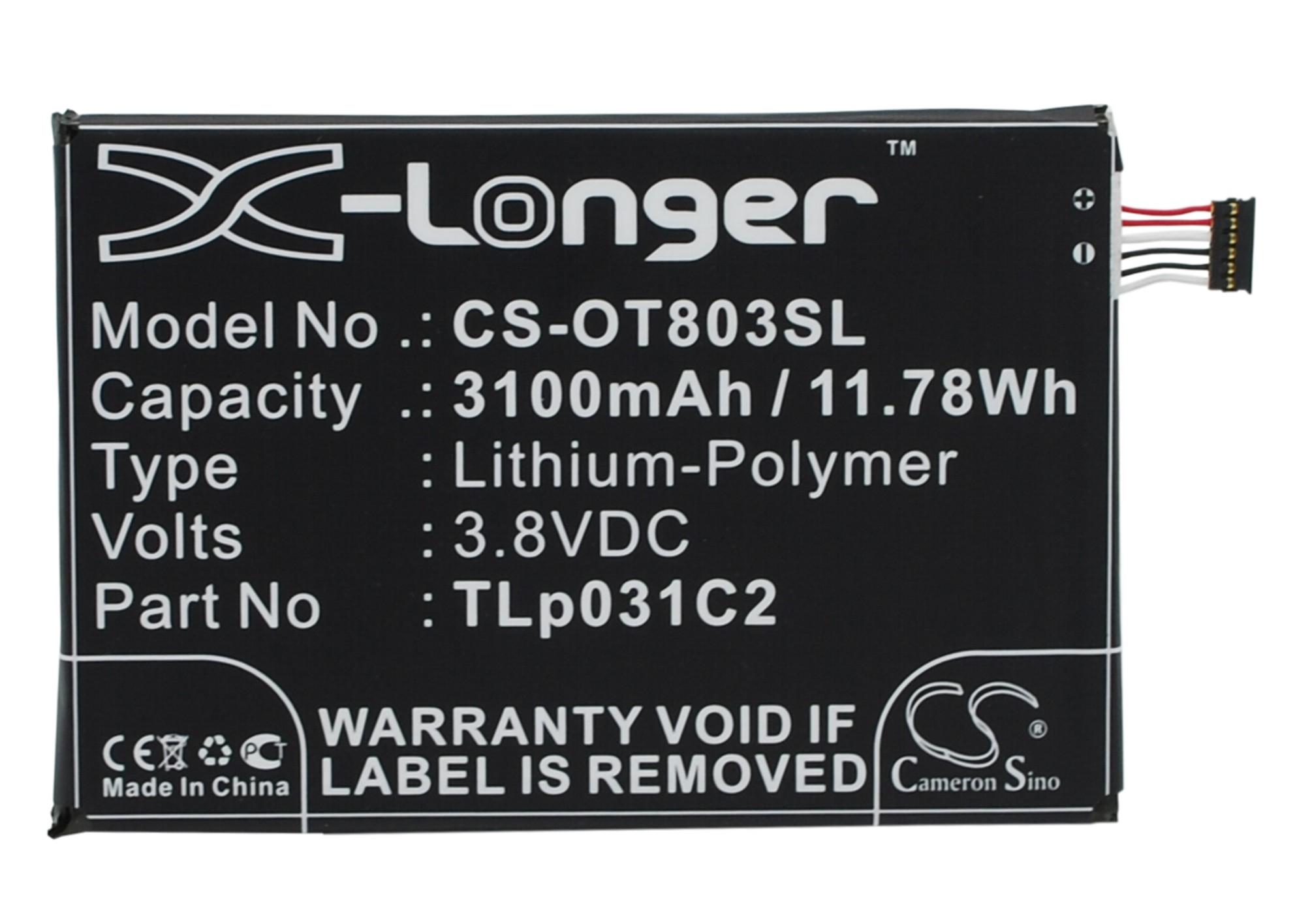 Cameron Sino baterie do mobilů pro ALCATEL OT-8030Y 3.8V Li-Polymer 3100mAh černá - neoriginální