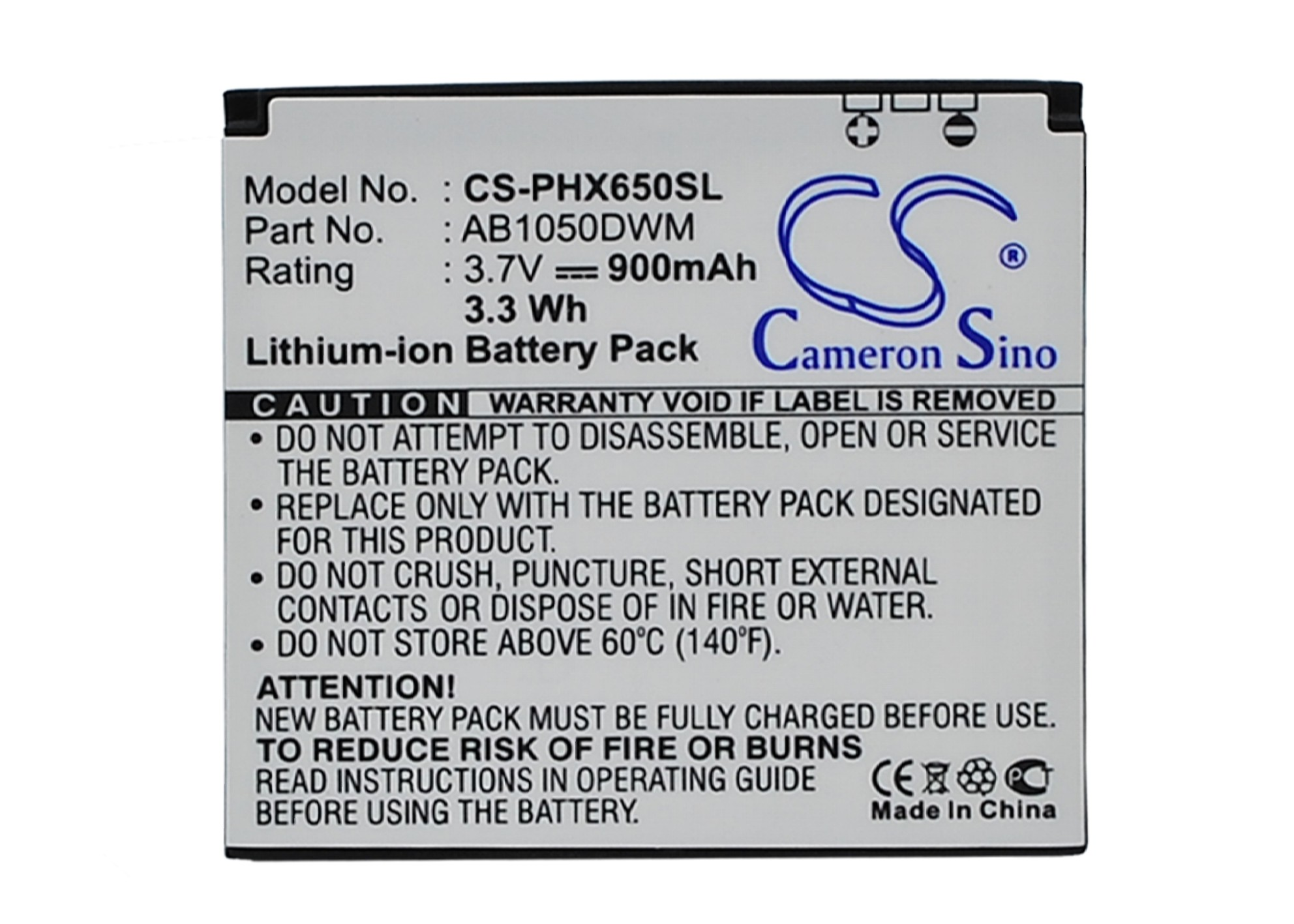Cameron Sino baterie do mobilů pro PHILIPS Xenium X510 3.7V Li-ion 900mAh černá - neoriginální