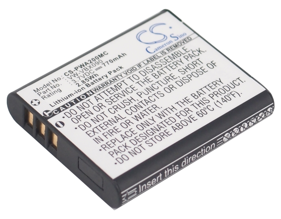 Cameron Sino baterie do kamer a fotoaparátů pro PANASONIC HX-WA20W 3.7V Li-ion 770mAh černá - neoriginální