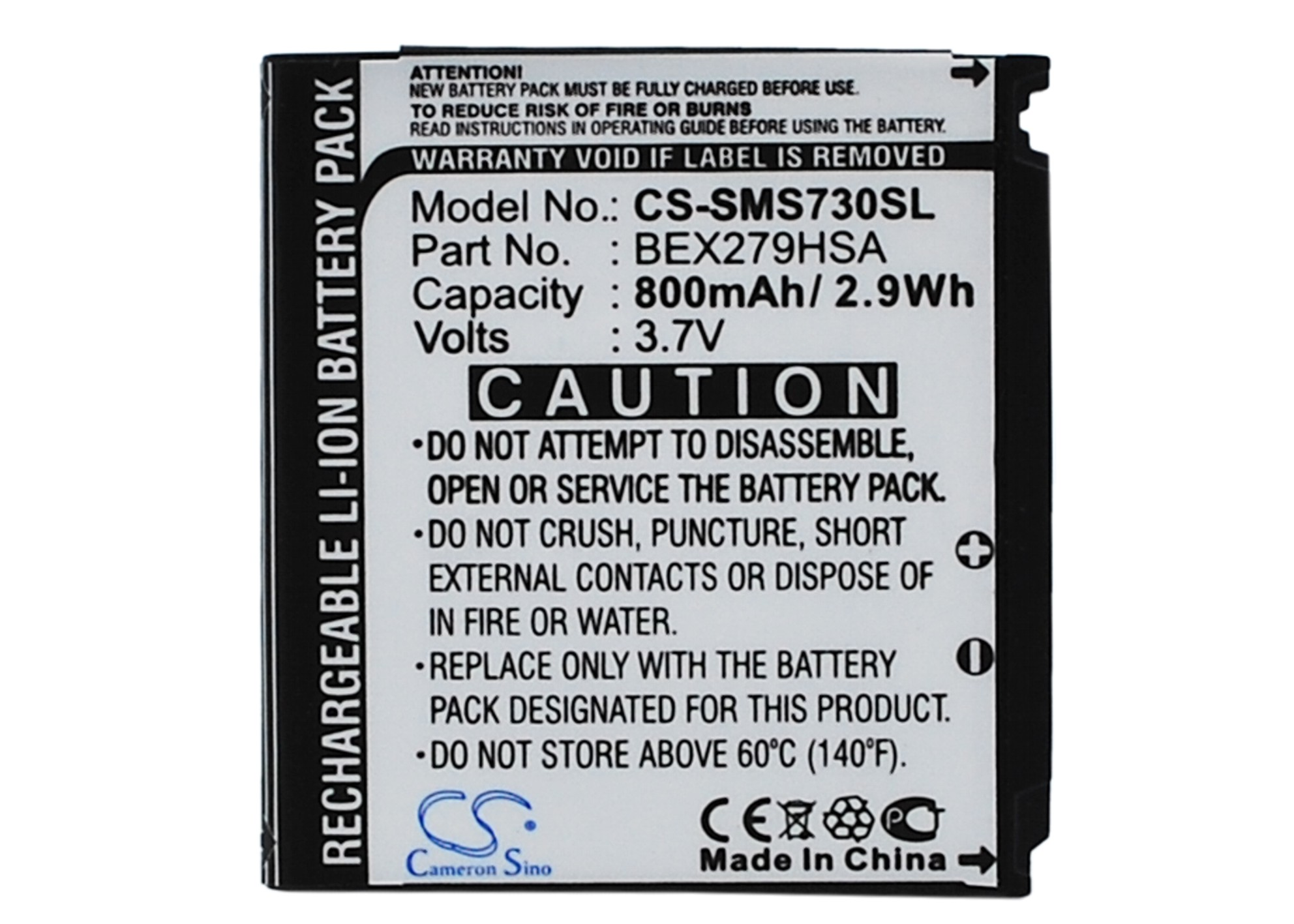 Cameron Sino baterie do mobilů pro SAMSUNG SGH-S730i 3.7V Li-ion 800mAh černá - neoriginální