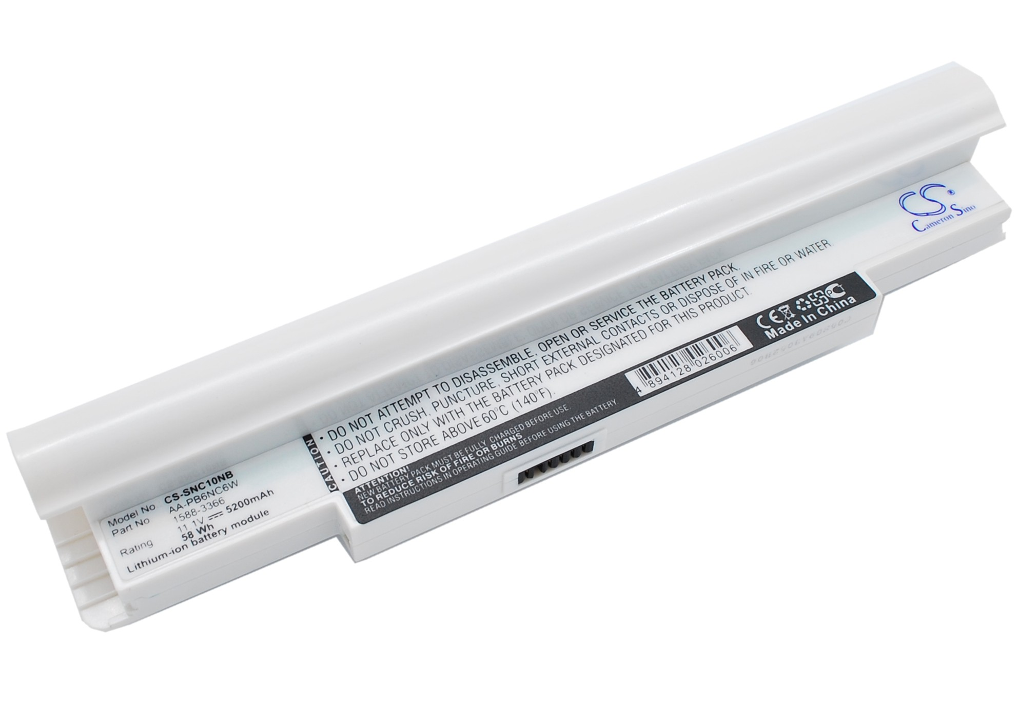 Cameron Sino baterie do notebooků pro SAMSUNG NP-NC20 11.1V Li-ion 5200mAh bílá - neoriginální