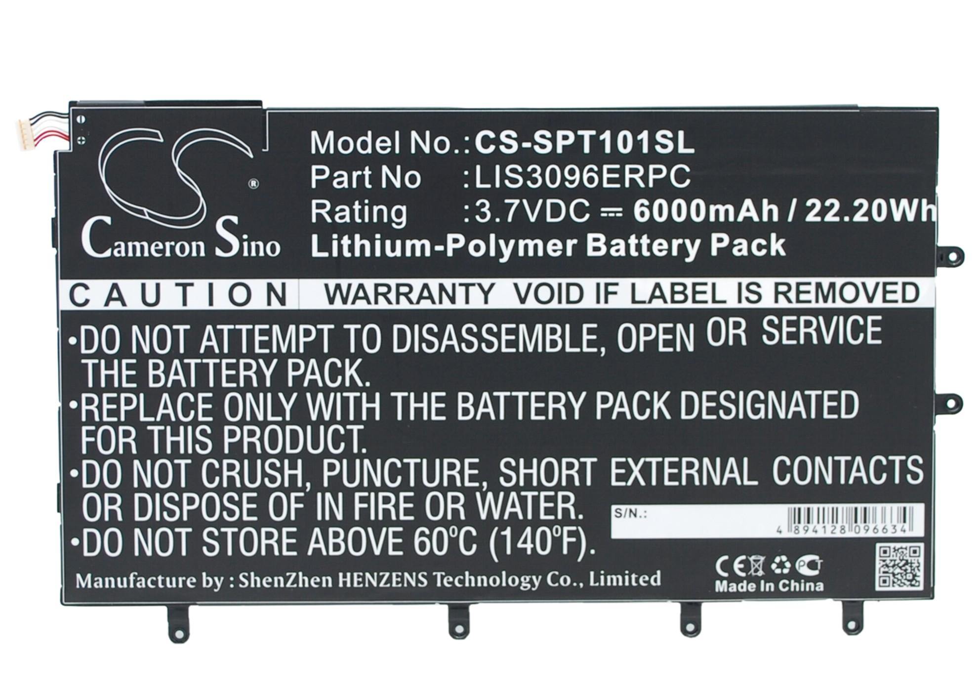 """Cameron Sino baterie do tabletů pro SONY Xperia Tablet Z 10.1"""" 3.7V Li-Polymer 6000mAh černá - neoriginální"""