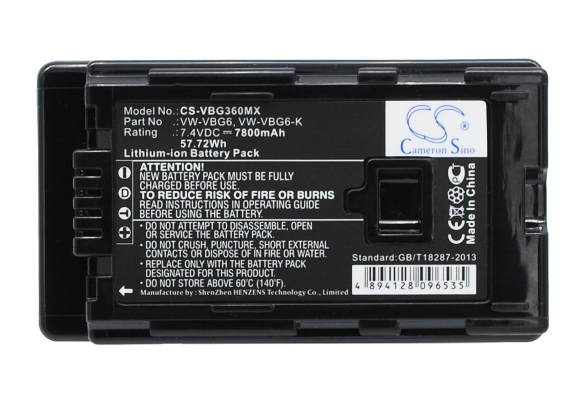 Cameron Sino baterie do kamer a fotoaparátů pro PANASONIC HDC-SD5EG-K 7.4V Li-ion 7800mAh černá - neoriginální