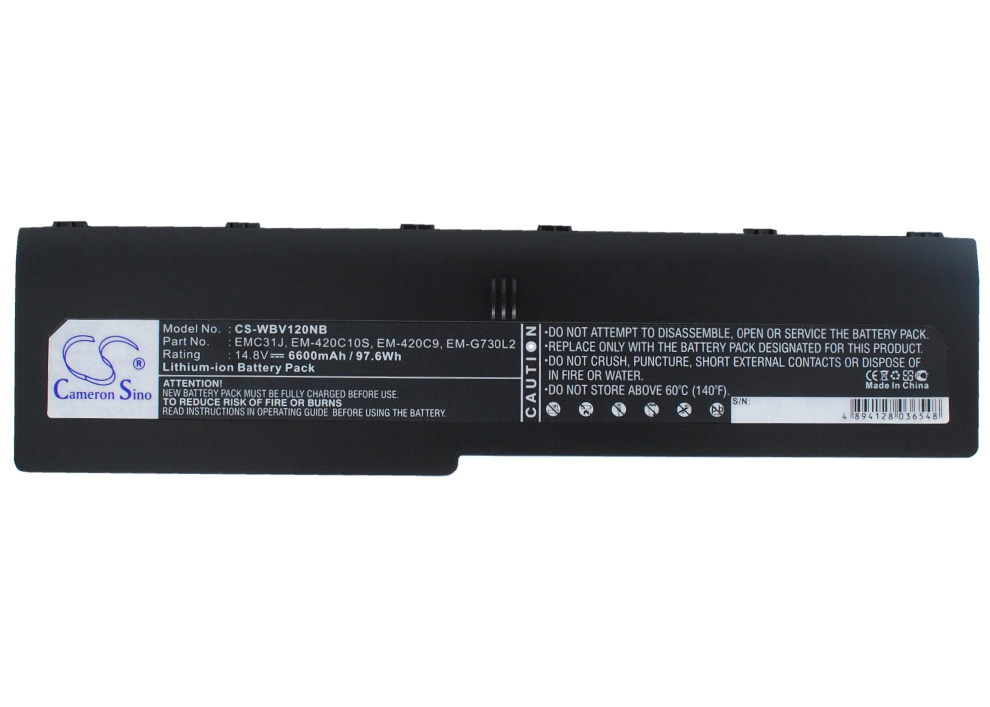 Cameron Sino baterie do notebooků pro YAKUMO Q7M DVD XD G733 14.8V Li-ion 6600mAh černá - neoriginální