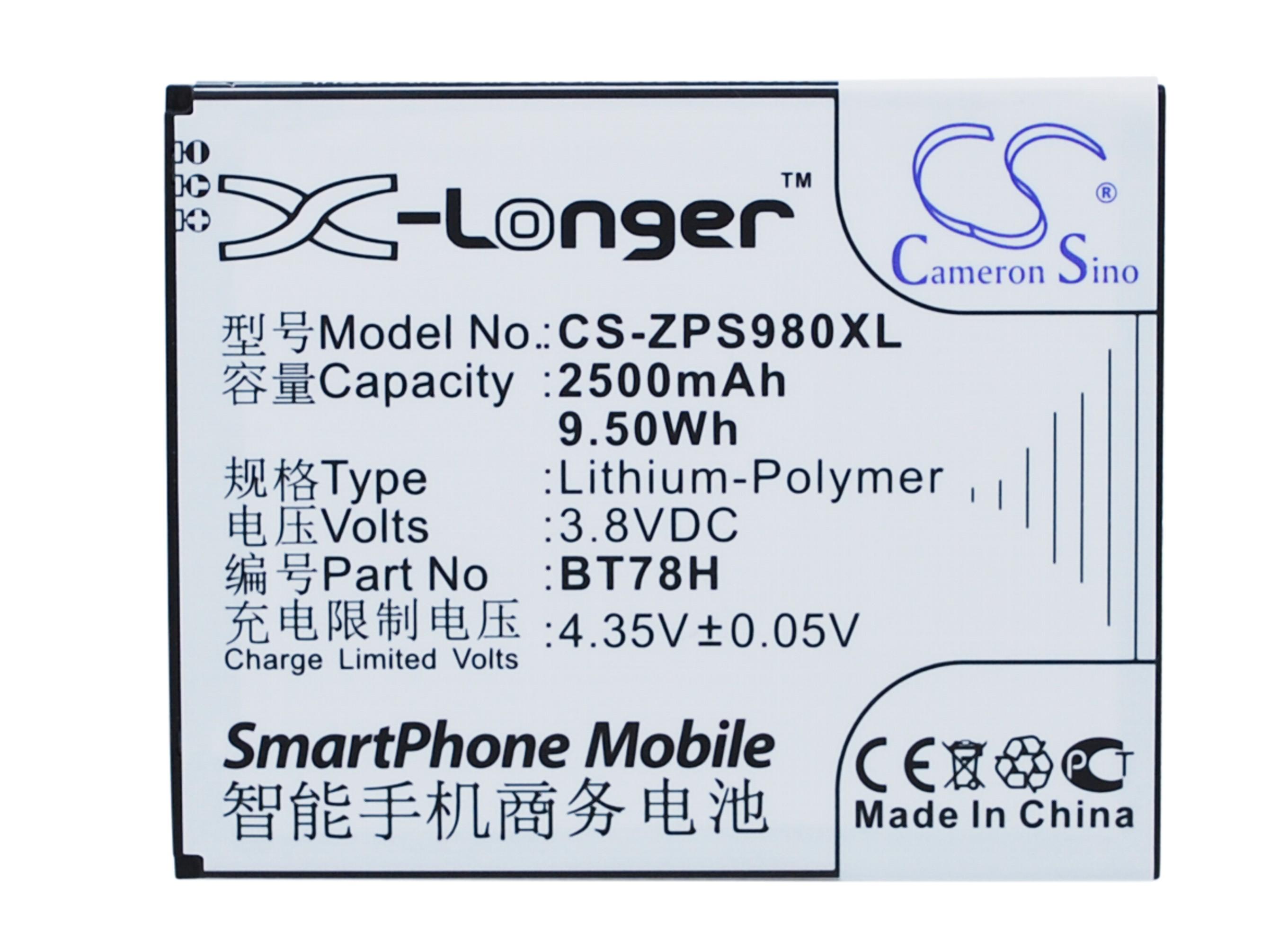 Cameron Sino baterie do mobilů pro ZOPO ZP980 Plus 3.8V Li-Polymer 2500mAh černá - neoriginální