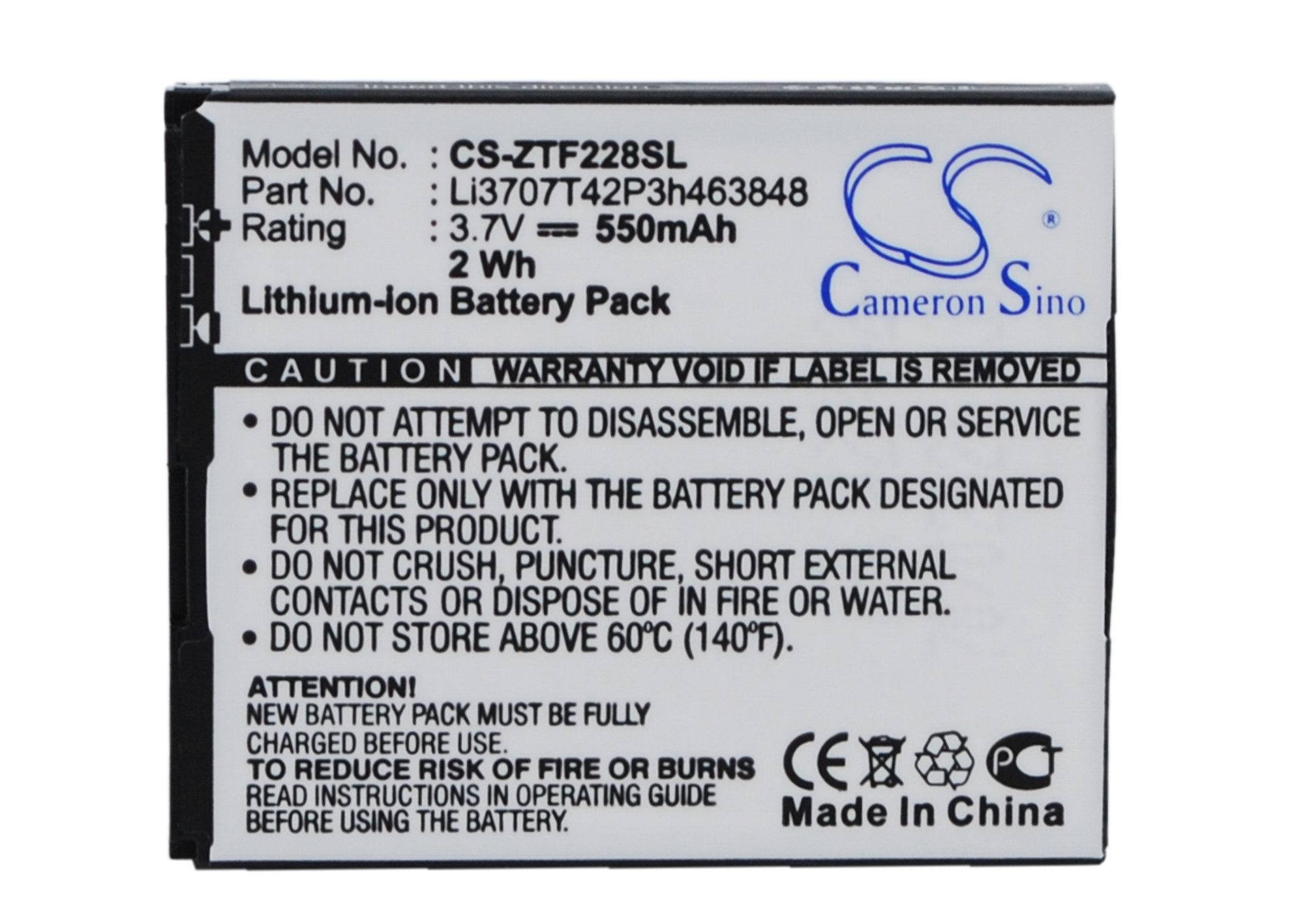 Cameron Sino baterie do mobilů pro VODAFONE VF228 3.7V Li-ion 550mAh černá - neoriginální